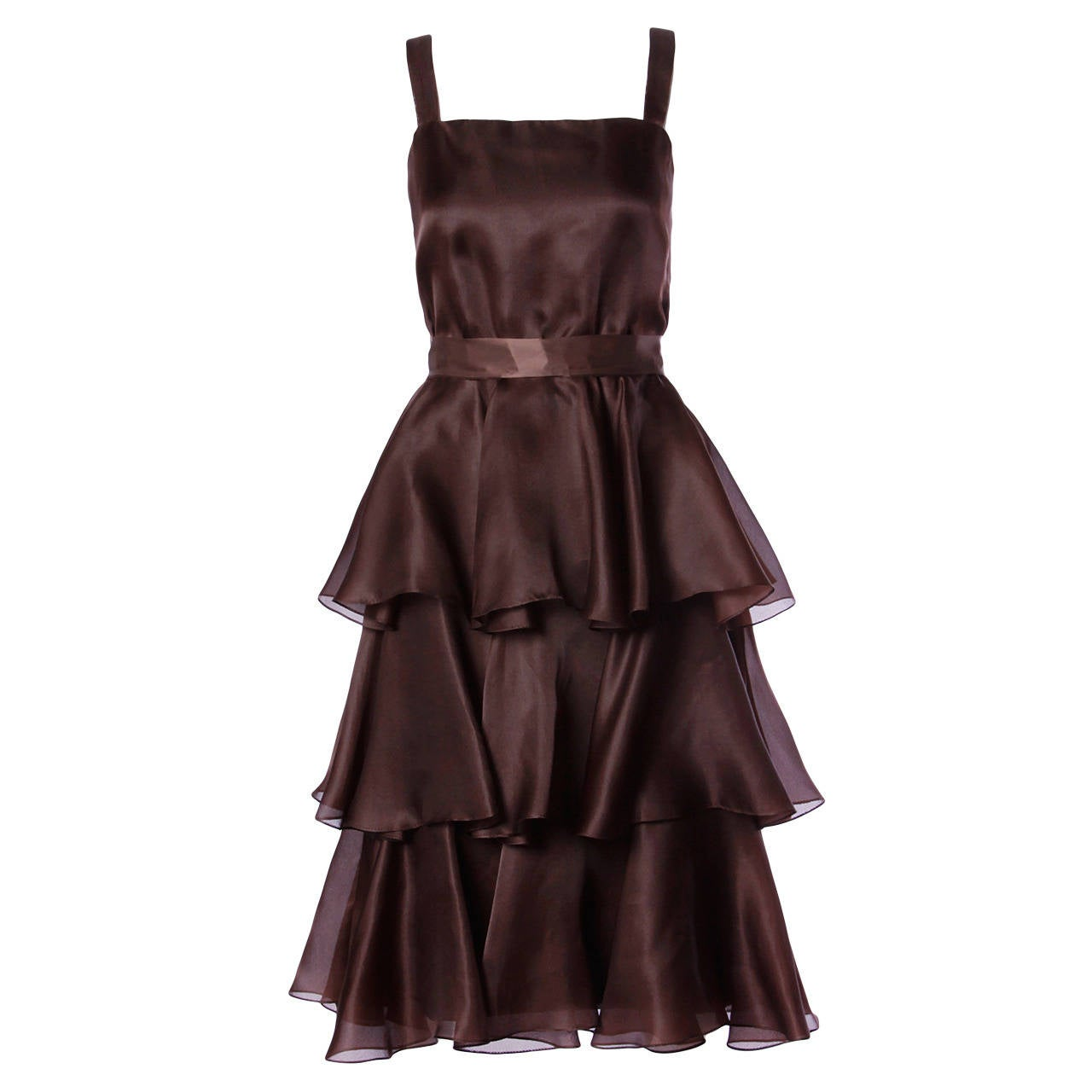 Bill Blass Vintage Chocolate Brown Tiered Silk Party Dress For Sale