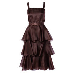 Bill Blass Vintage Chocolate Brown Tiered Silk Party Dress