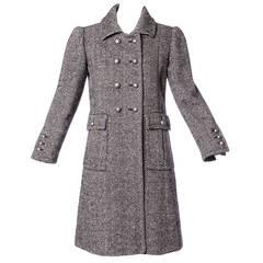 Jean Louis Scherrer Vintage 1970s 70s Military-Inspired Herringbone Coat