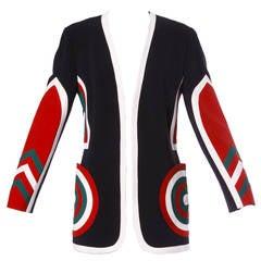 Moschino Couture! Vintage 1990s 90s Color Block Dart Board Blazer Jacket