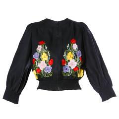 Tiziani Vintage 1960s 60s Italian Flower Embroidered Applique Linen Jacket