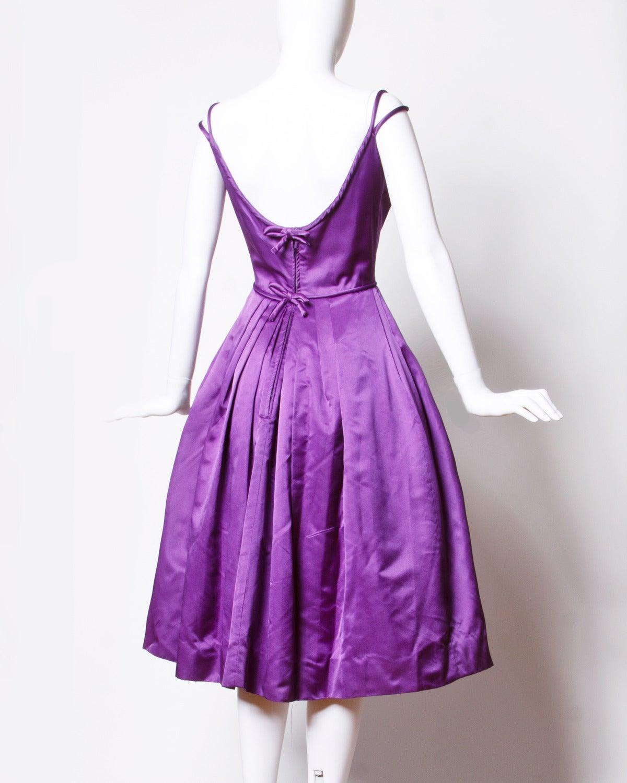 Minuet by Mollie Stone Vintage 1960s Purple Satin Cocktail Dress 2