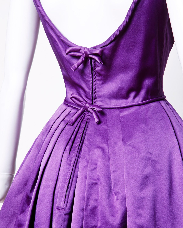 Minuet by Mollie Stone Vintage 1960s Purple Satin Cocktail Dress 4
