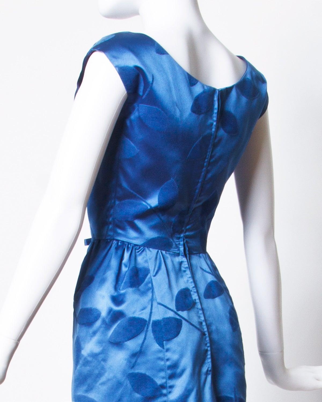 Vintage 1960s Blue Silk Satin Cocktail Dress 3