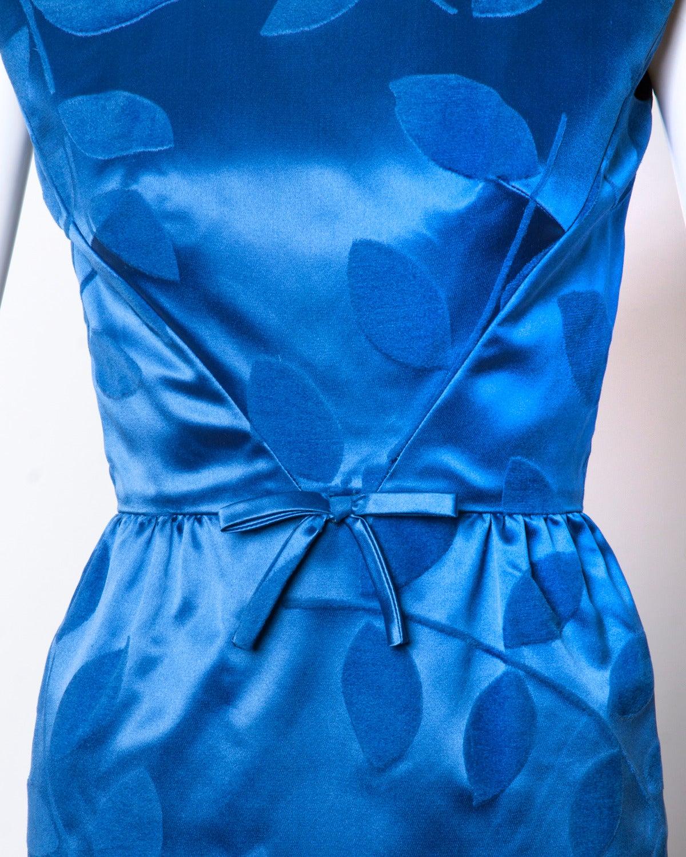 Women's Vintage 1960s Blue Silk Satin Cocktail Dress For Sale