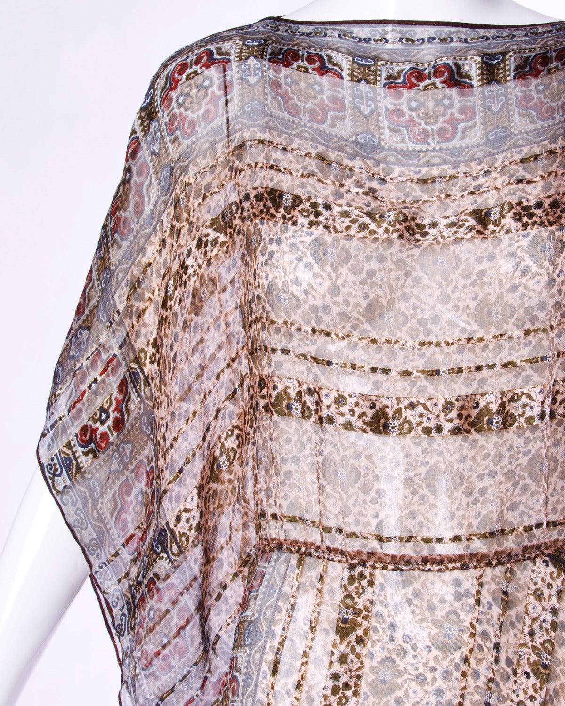 Vintage 1970s Sheer Silk Chiffon India Print Dress with Kimono Sleeves 5