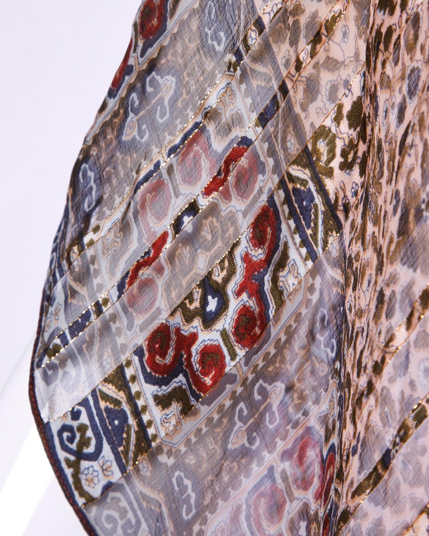 Vintage 1970s Sheer Silk Chiffon India Print Dress with Kimono Sleeves 4