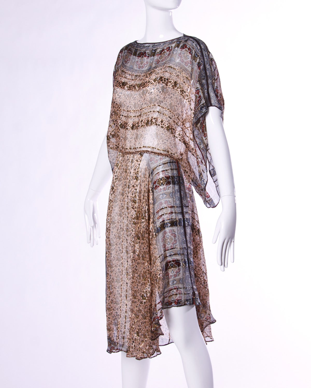 Vintage 1970s Sheer Silk Chiffon India Print Dress with Kimono Sleeves 3