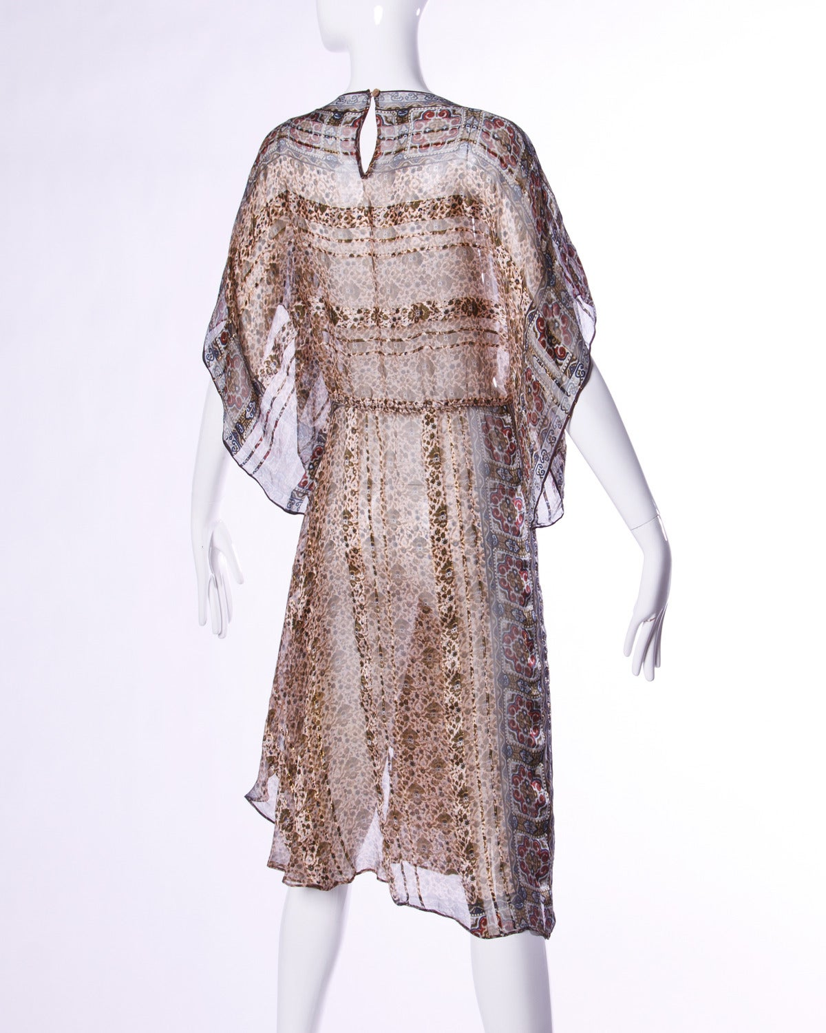 Gorgeous sheer silk chiffon dress with an Indian-inspired print and batwing kimono sleeves. Creamy high quality silk fabric is just stunning in person!