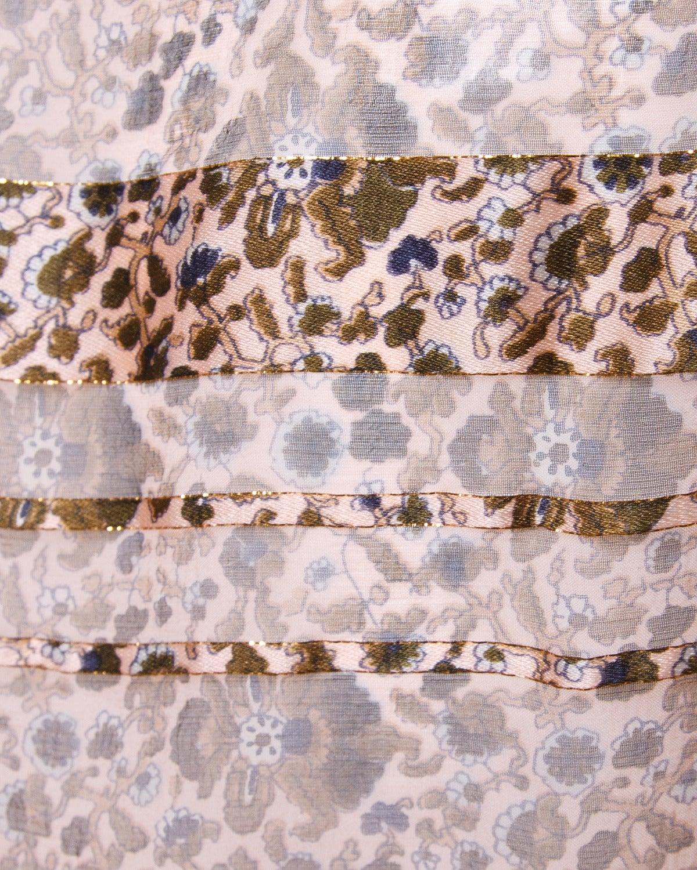 Vintage 1970s Sheer Silk Chiffon India Print Dress with Kimono Sleeves 6