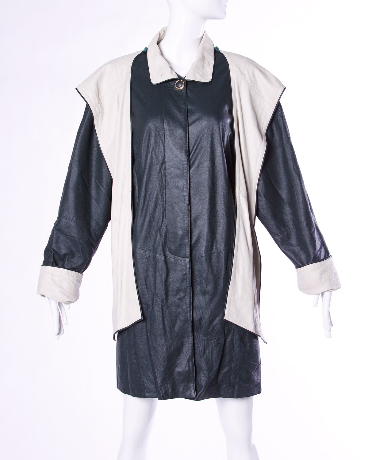Escada by Margaretha Ley Vintage Black + White Leather Hooded Coat For Sale 2