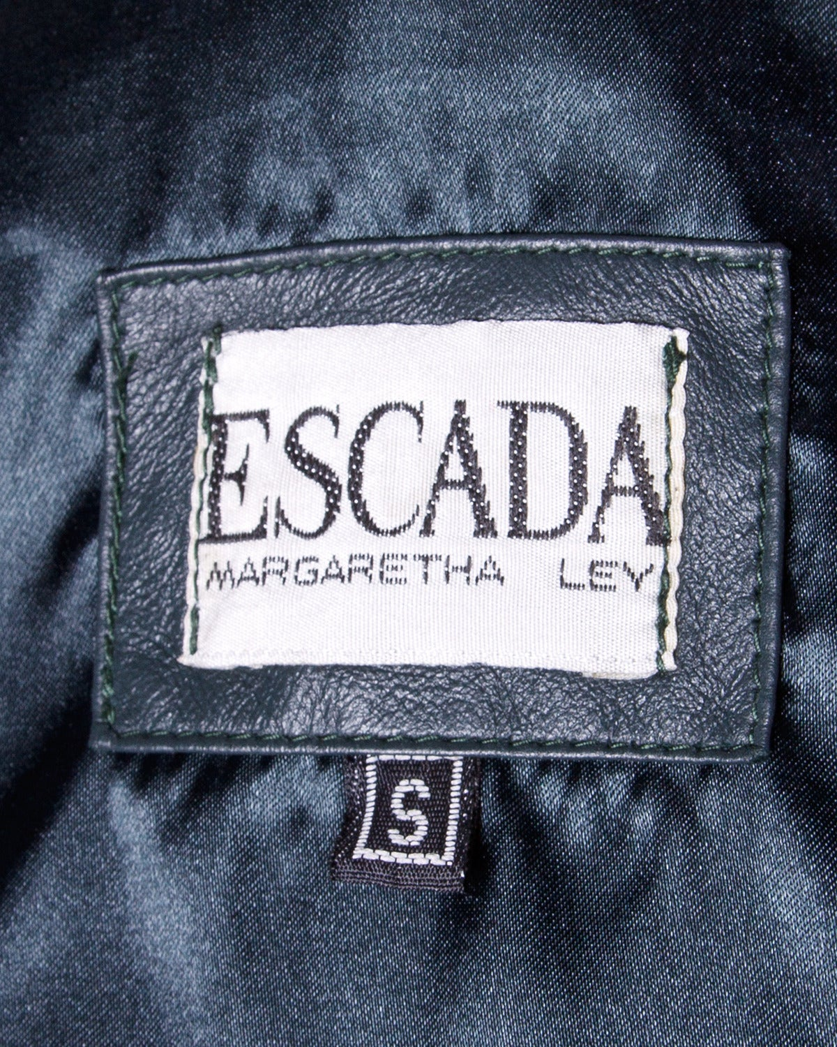 Escada by Margaretha Ley Vintage Black + White Leather Hooded Coat For Sale 5