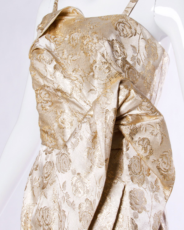 Lilli Diamond Vintage 1960s Metallic Brocade Sculptural Cocktail Dress 5
