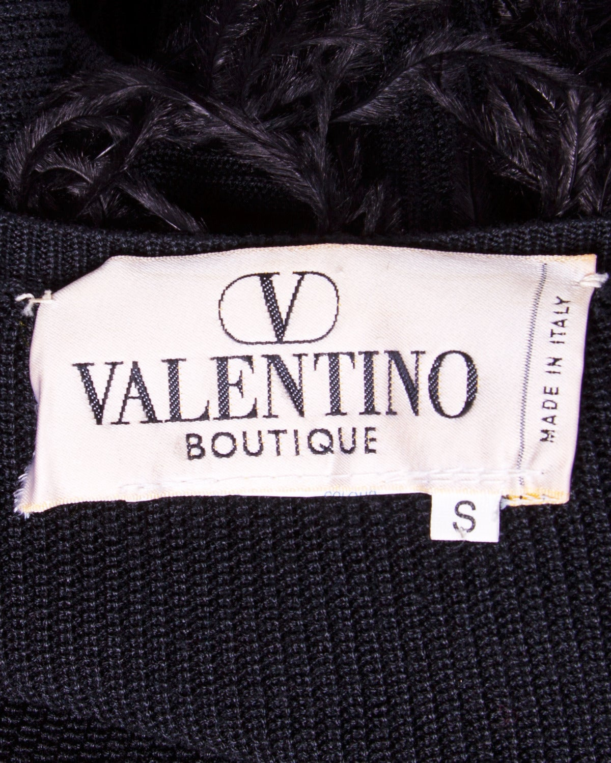 Valentino Vintage Black Silk Knit Sweater Top with Feather Sleeves 6
