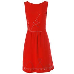 "Iconic Moschino Vintage 1990s 90s ""Love Charts + Graphs"" Valentines Red Dress"