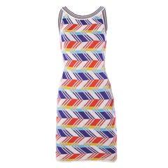 Christian Lacroix Vintage Geometric Striped Knit Body Con Dress