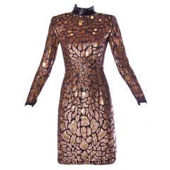 Naeem Khan Riazee Vintage Metallic Sequin + Beaded Cocktail Dress