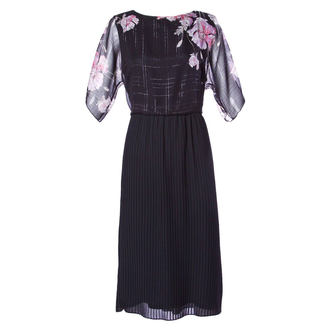 Hanae Mori Vintage 1970s 70s Sheer Floral Print Metallic Dress For Sale