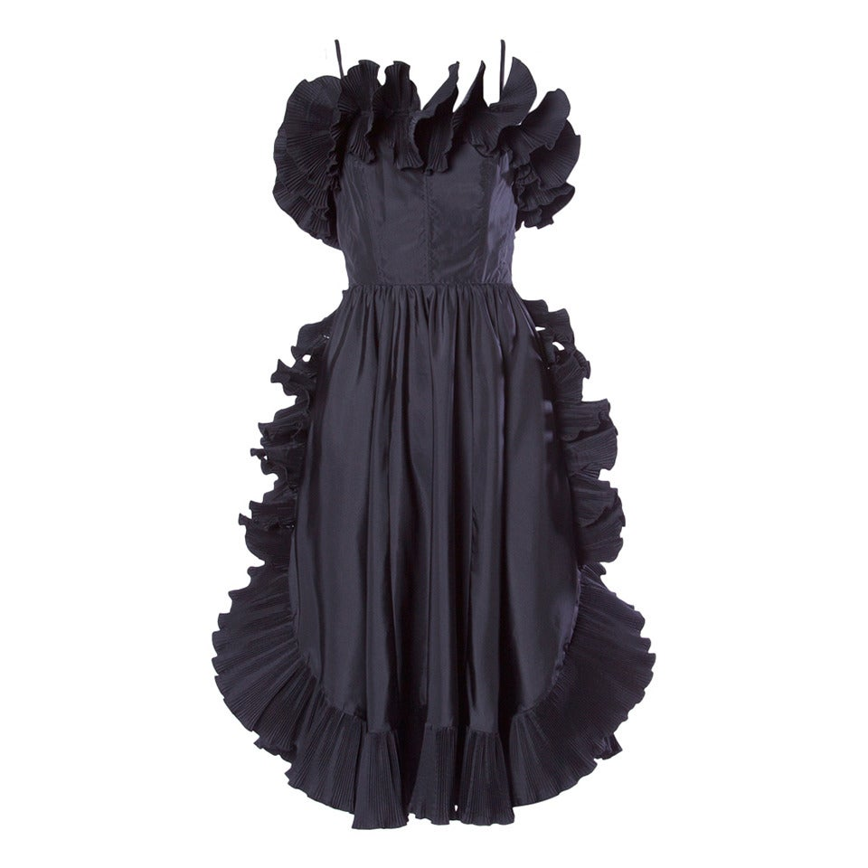 Saks Fifth Avenue Vintage Sculptural Origami Pleated Formal Dress For Sale