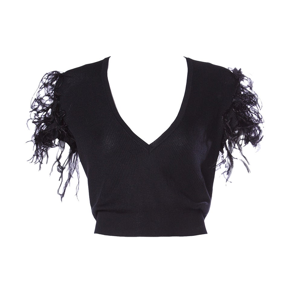 Valentino Vintage Black Silk Knit Sweater Top with Feather Sleeves 1