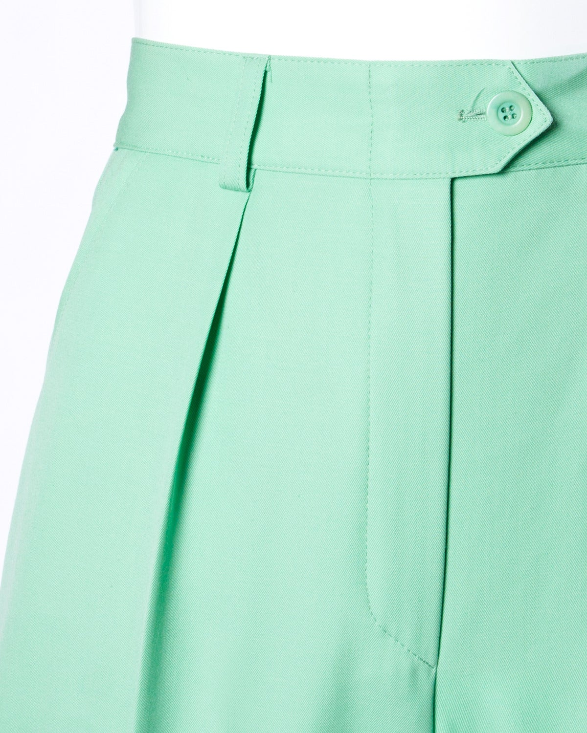 Escada Vintage 1990s 90s Mint Green High Waisted Wool Trousers In Excellent Condition For Sale In Sparks, NV