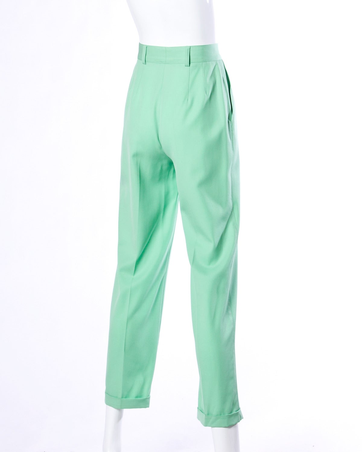 Blue Escada Vintage 1990s 90s Mint Green High Waisted Wool Trousers For Sale