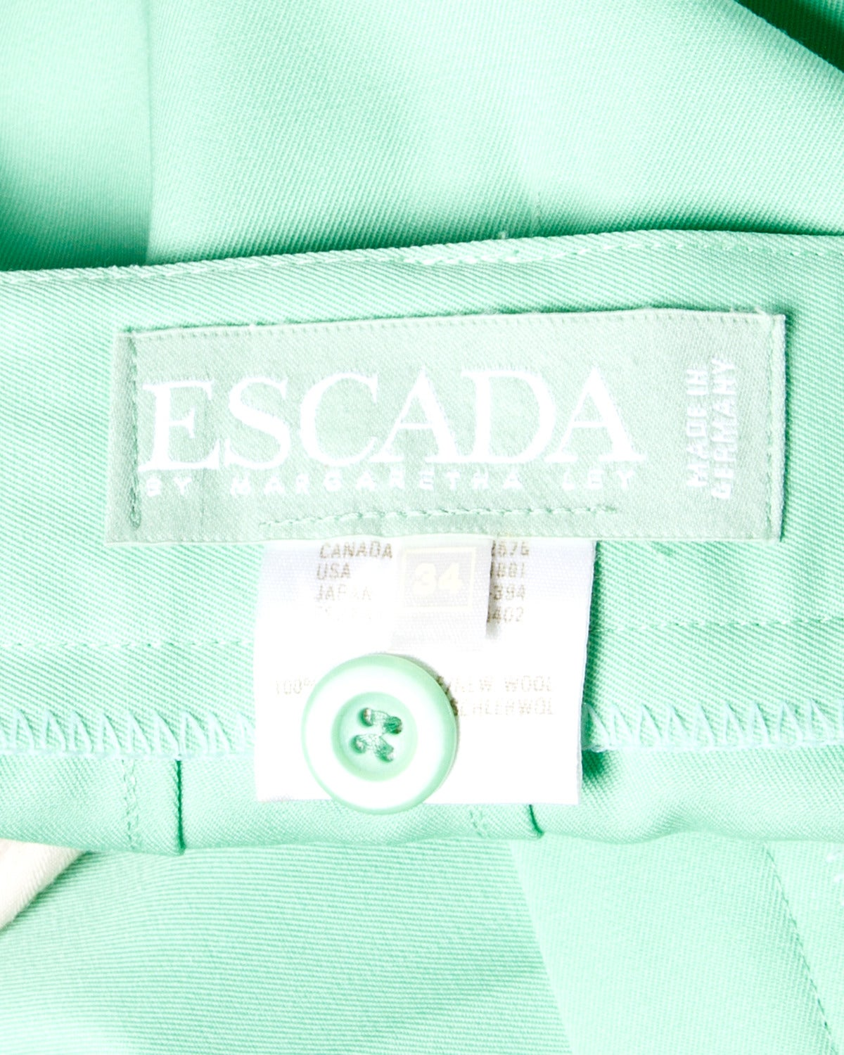 Women's Escada Vintage 1990s 90s Mint Green High Waisted Wool Trousers For Sale