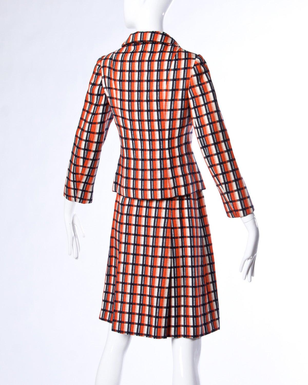 Women's Bill Blass for Maurice Rentner 1960s Wool Plaid Jacket + Skirt Suit Ensemble For Sale