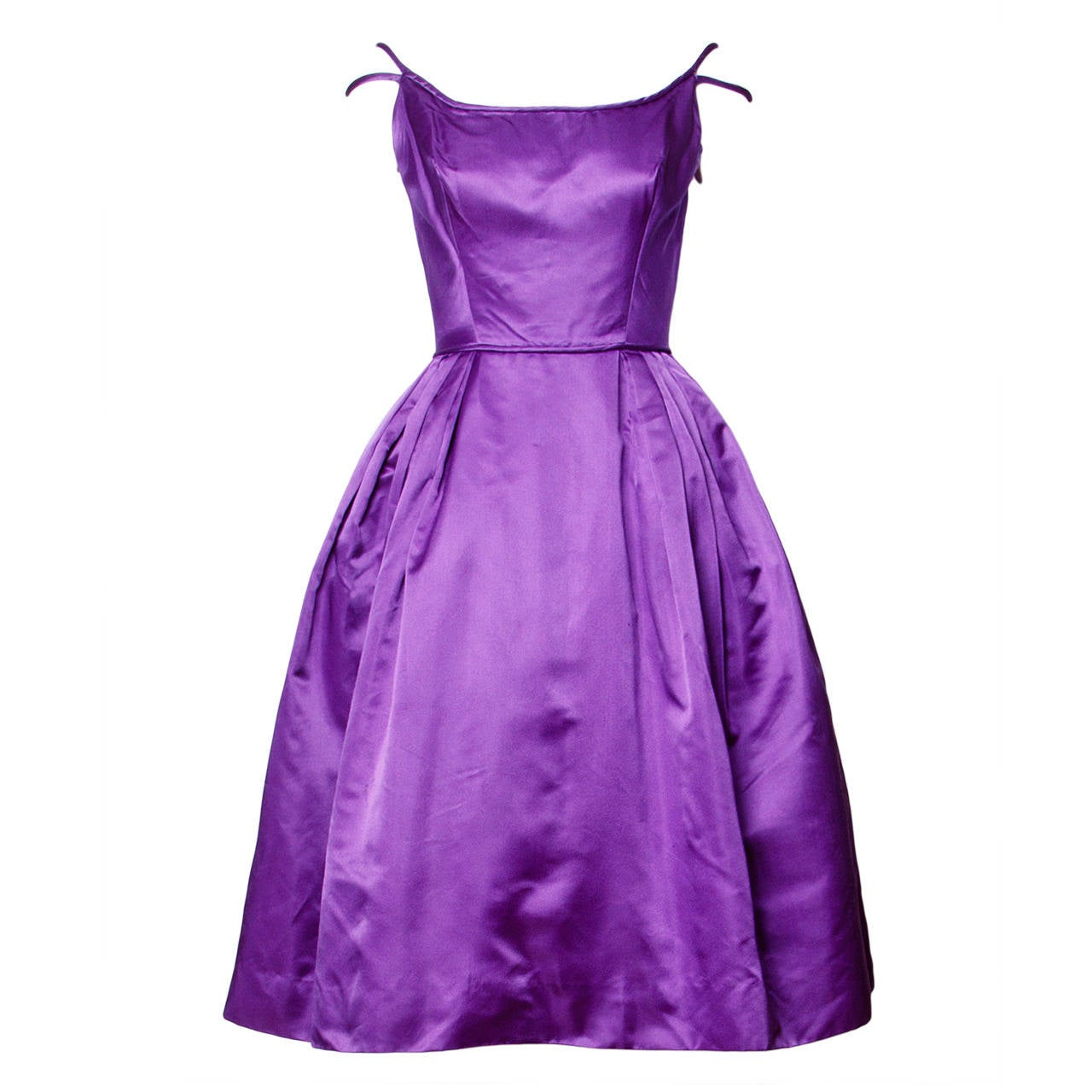 Minuet by Mollie Stone Vintage 1960s Purple Satin Cocktail Dress at ...