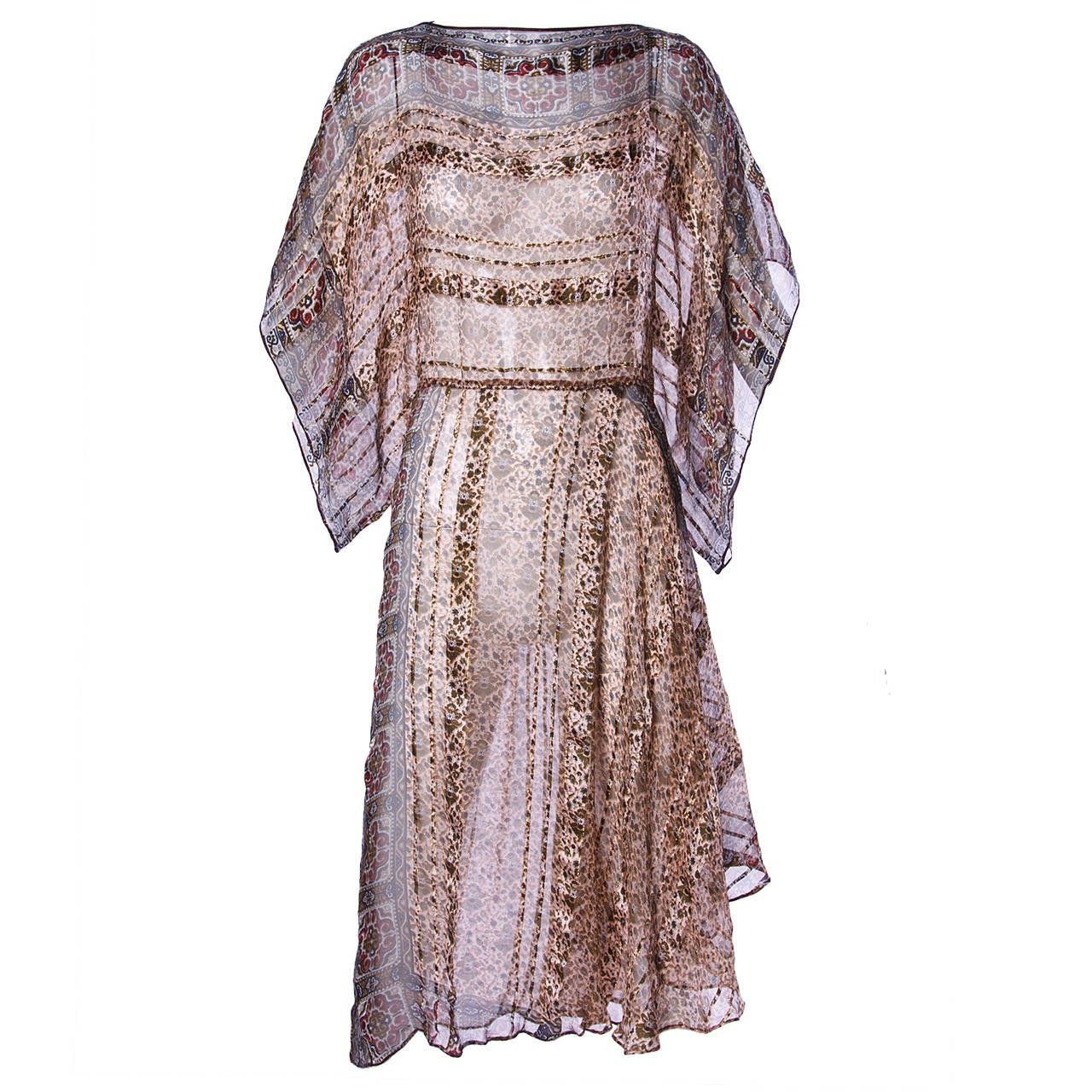Vintage 1970s Sheer Silk Chiffon India Print Dress with Kimono Sleeves For Sale