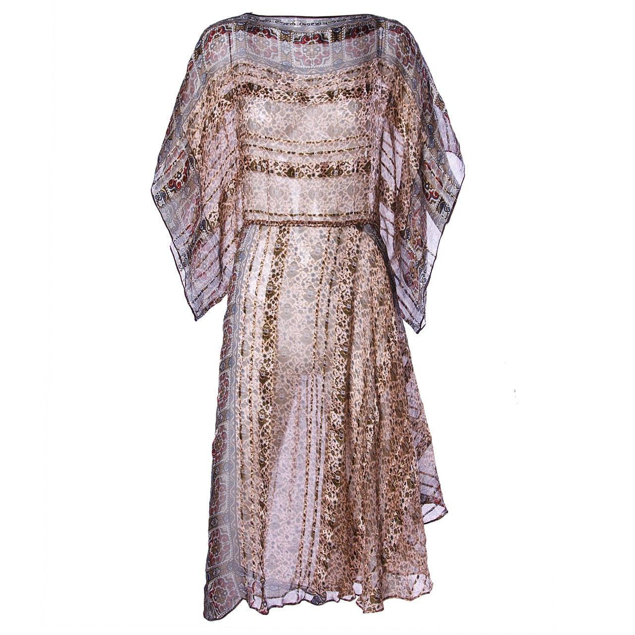 Vintage 1970s Sheer Silk Chiffon India Print Dress with Kimono Sleeves 1