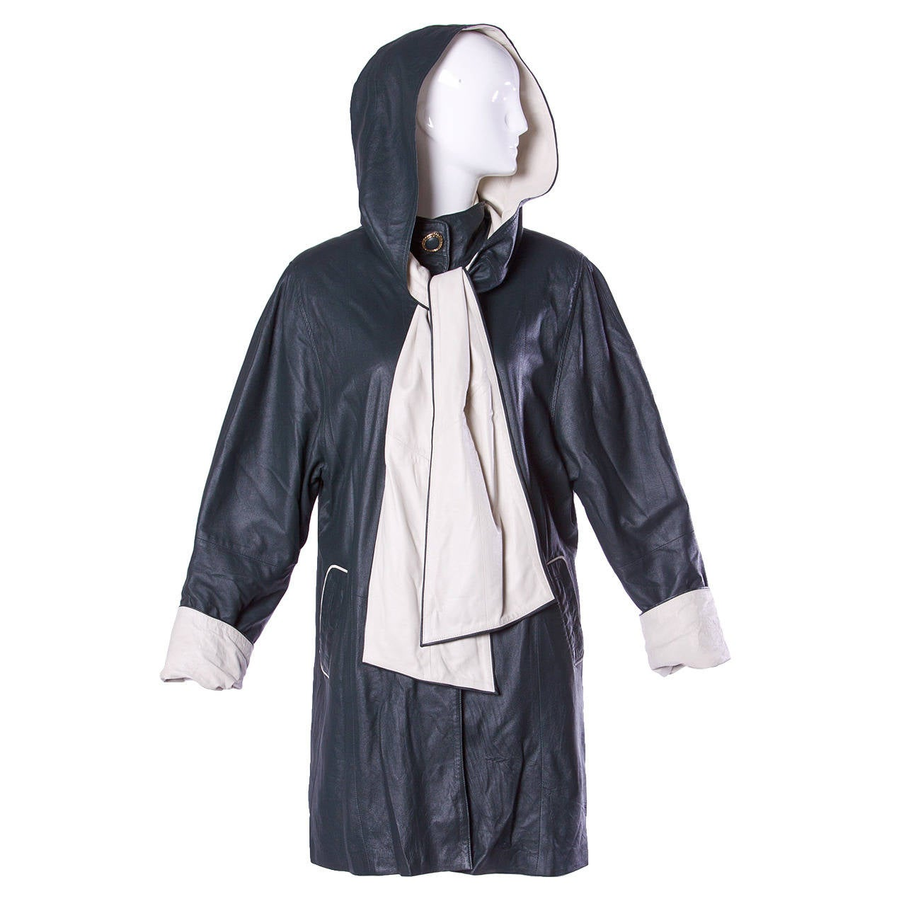 Escada by Margaretha Ley Vintage Black + White Leather Hooded Coat For Sale
