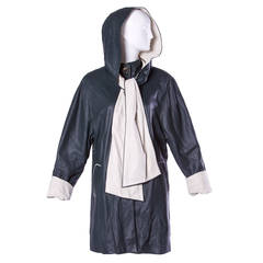 Escada by Margaretha Ley Vintage Black + White Leather Hooded Coat