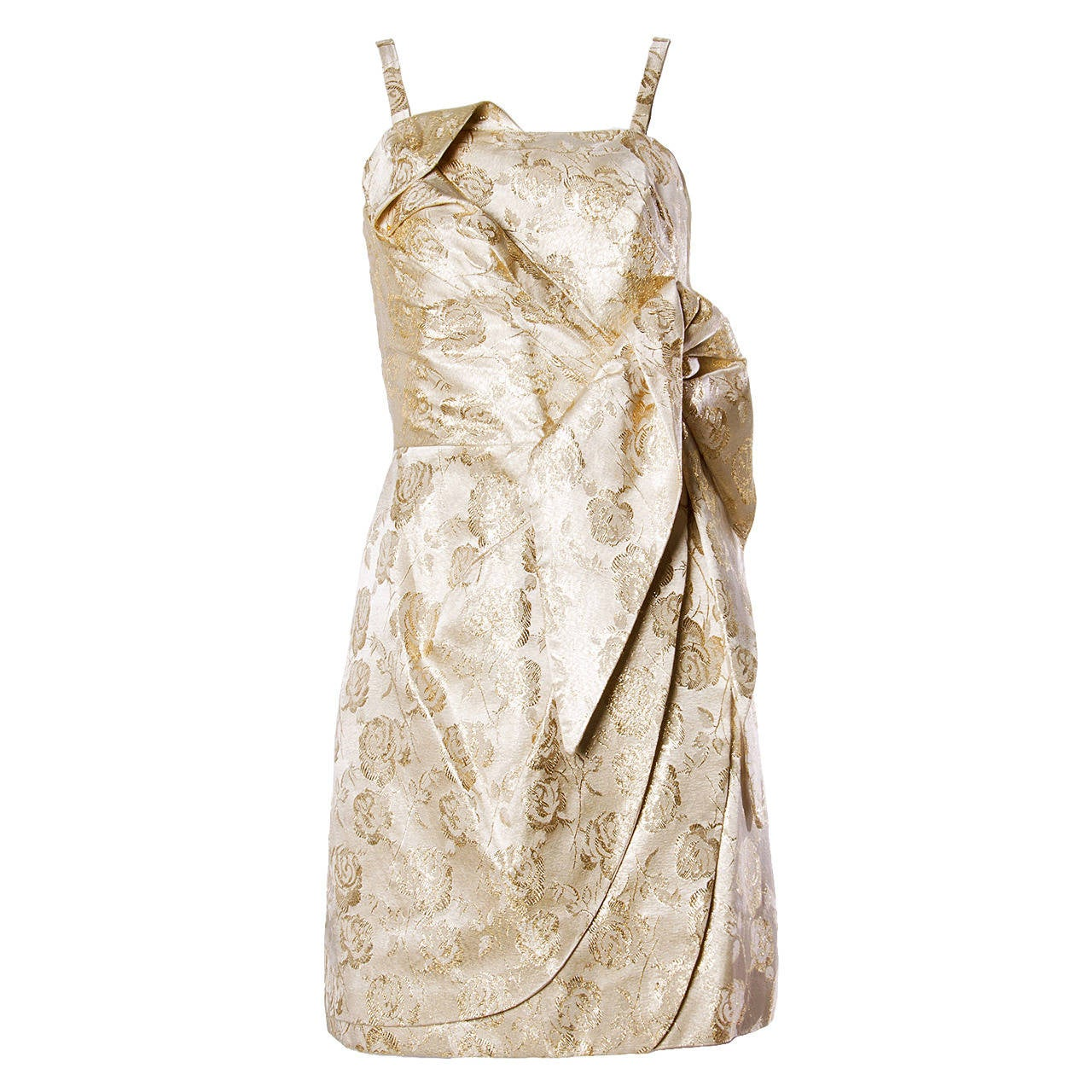 Lilli Diamond Vintage 1960s Metallic Brocade Sculptural Cocktail Dress For Sale