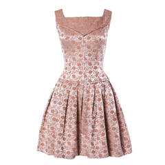 Vintage Floral Brocade Drop Waist Cocktail Dress