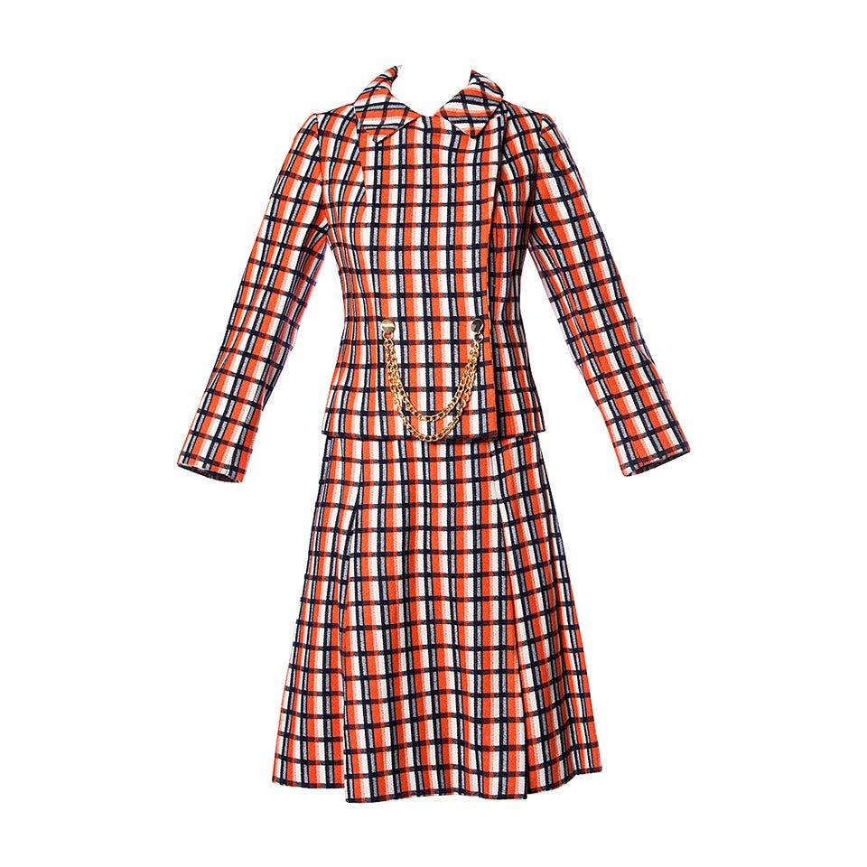 Bill Blass for Maurice Rentner 1960s Wool Plaid Jacket + Skirt Suit Ensemble For Sale