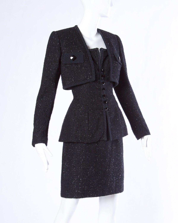 Michael Casey Couture Vintage Sculptural 3-Piece Skirt Suit Ensemble 2
