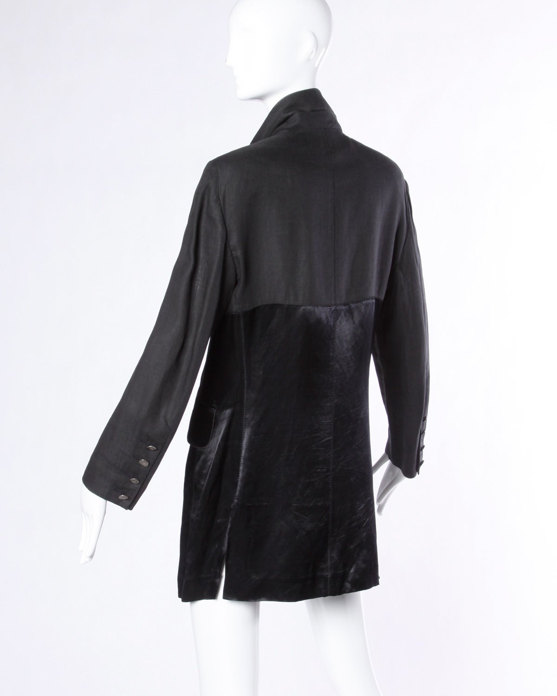 Sonia Rykiel Vintage Black Linen   Satin Jacket with Finger Print ...