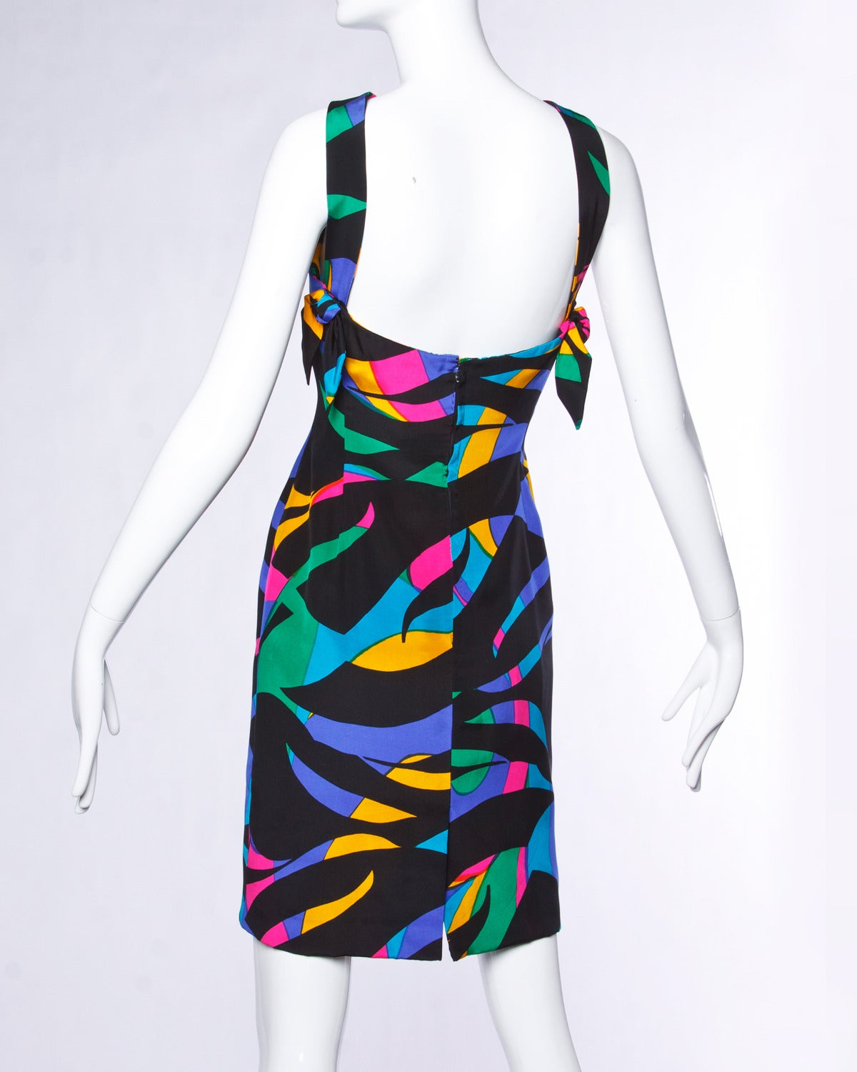 Michael Novarese Vintage 1980s 80s Colorful Silk Print Sheath Dress 2
