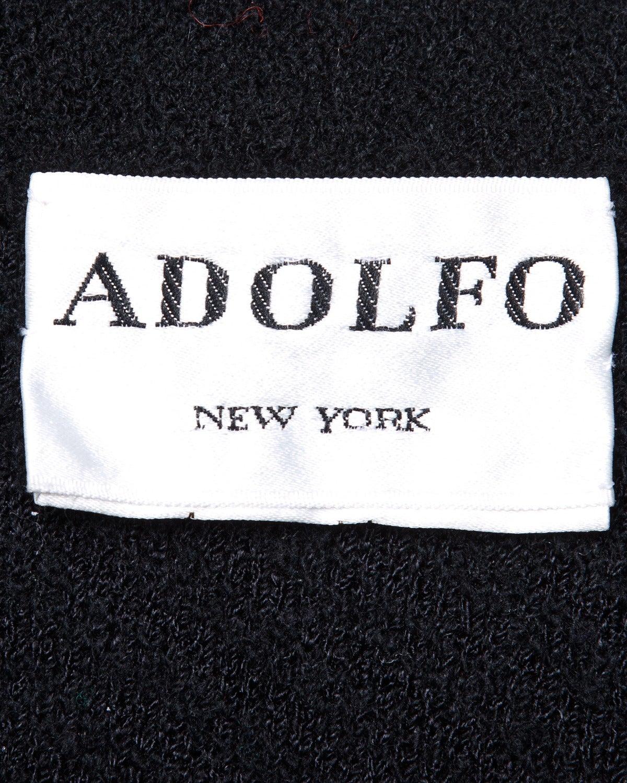 Adolfo Vintage 1970s 70s Black & White Wool Jacket + Skirt Suit Ensemble For Sale 2