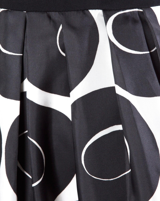 Vintage 1960s Black + White Geometric Print Cocktail Dress 4