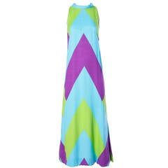 Rappi Vintage 1970s 70s Linen + Silk Geometric Color Block Maxi Dress