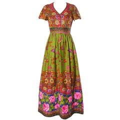 Erlebacher Vintage 1970s Vibrant Rhinestone Embellished Maxi Dress