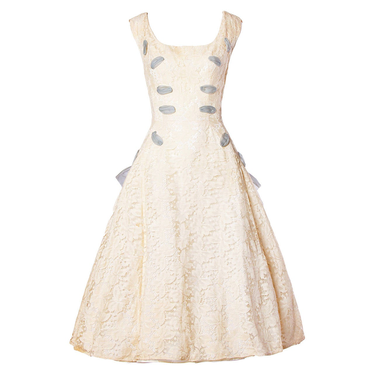 Vintage 1950s 50s Cream Lace Party Dress with Organza Lace Up Ribbon 1