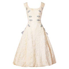 Vintage 1950s 50s Cream Lace Party Dress with Organza Lace Up Ribbon