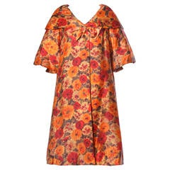 Sandra Sage Vintage 1960s 60s Silk Floral Print Swing Coat with Full Sweep