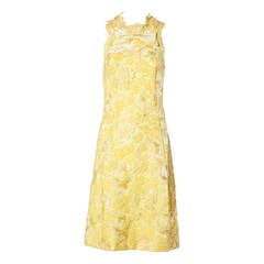 Mary Sach's Vintage Couture 1960s Metallic Yellow Lace Shift Dress