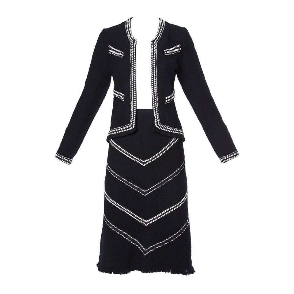 Adolfo Vintage 1970s 70s Black & White Wool Jacket + Skirt Suit Ensemble For Sale