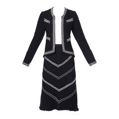 Adolfo Vintage 1970s 70s Black & White Wool Jacket + Skirt Suit Ensemble