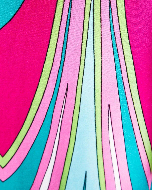 Vintage 1970s Colorful Op Art Jersey Knit Maxi Dress 1